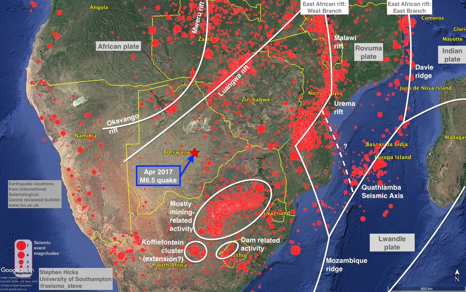 Rupture along a billion year old plate boundary in botswana overall the picture is very complicated but shows the main network of structures that may have contributed to the botswana earthquake gumiabroncs Choice Image